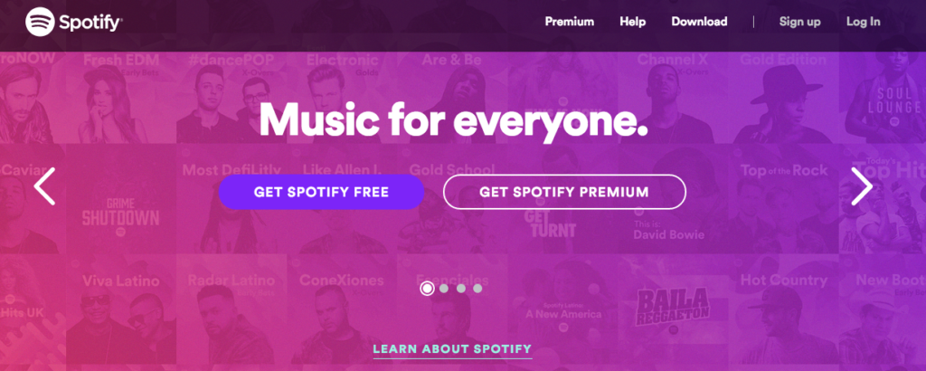 Spotify US TOP画面