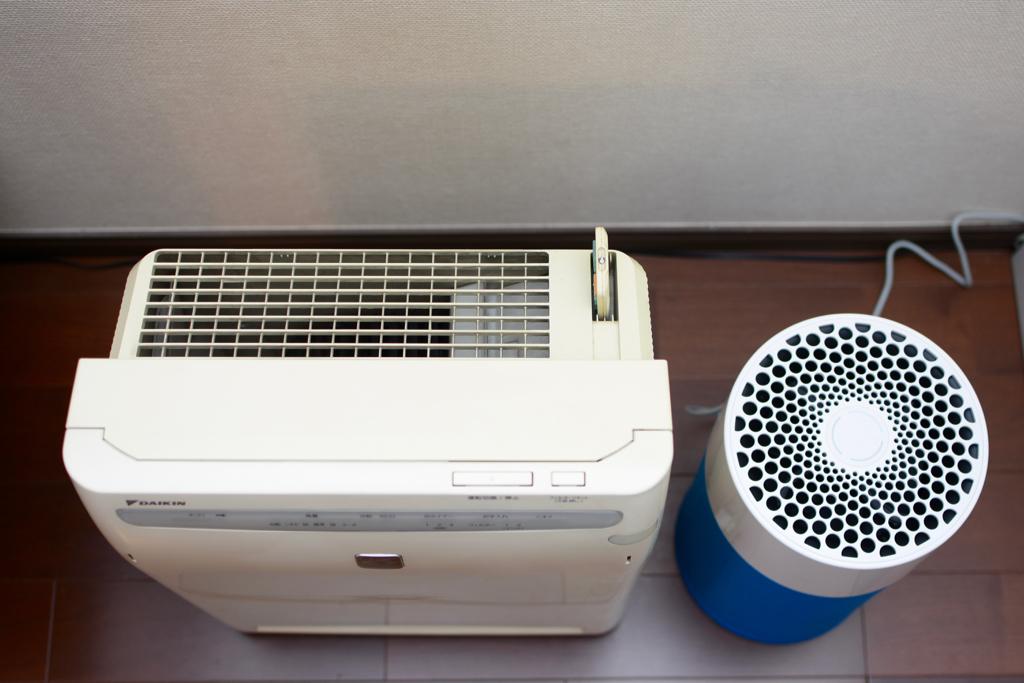 Blue Pure 411とダイキン空気清浄機との大きさ比較